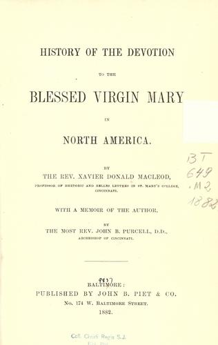History of the devotion to the Blessed Virgin Mary in North America
