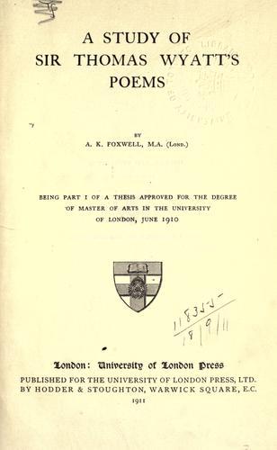 A study of Sir Thomas Wyatt's poems.