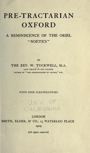 Pre-Tractarian Oxford