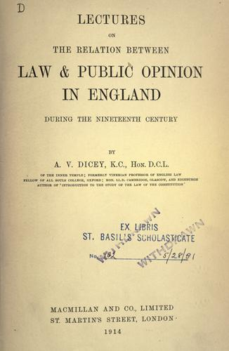 Download Lectures on the relation between law & public opinion in England, during the nineteenth century