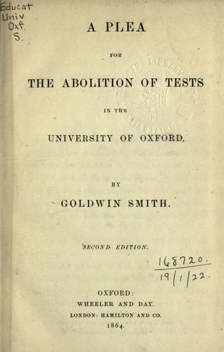 Download A plea for the abolition of tests in the University of Oxford.