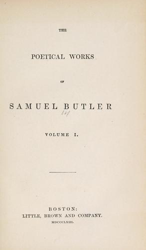 The poetical works of Samuel Butler.