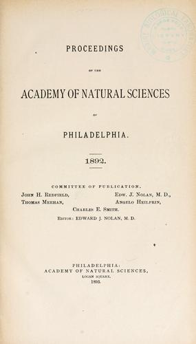 Proceedings of the Academy of Natural Sciences of Philadelphia, Volume 44