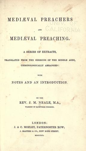 Medi℗æval preachers and medi℗æval preaching.