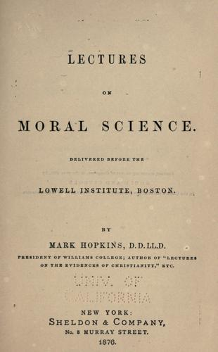 Lectures on moral science.