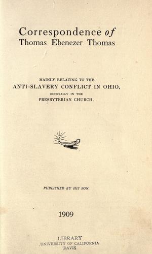 Download Correspondence of Thomas Ebenezer Thomas