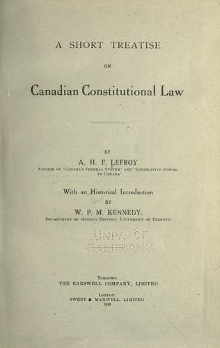 Download A short treatise on Canadian constitutional law