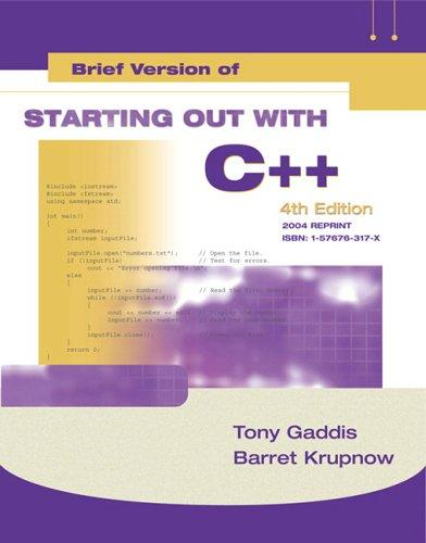 Starting Out with C++ Brief (4th Edition)