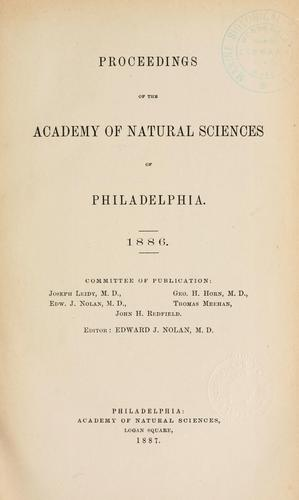 Proceedings of the Academy of Natural Sciences of Philadelphia, Volume 38