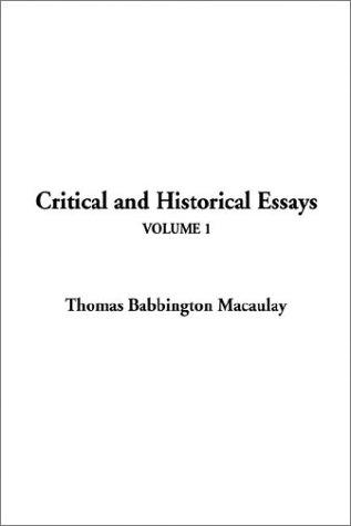 Download Critical and Historical Essays