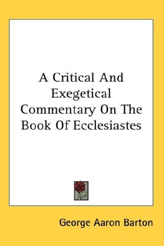 Download A Critical And Exegetical Commentary On The Book Of Ecclesiastes