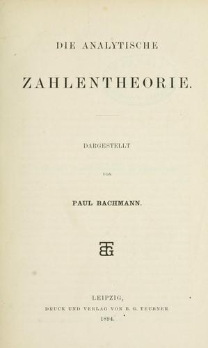 Download Die analytische Zahlentheorie.