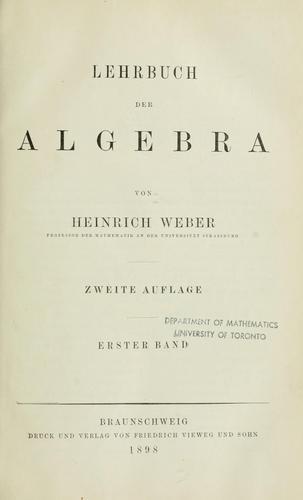 Download Lehrbuch der Algebra.