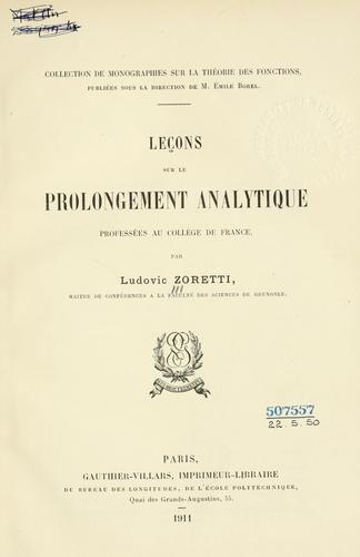 Download Leçons sur le prolongement analytique professées au Collège de France.