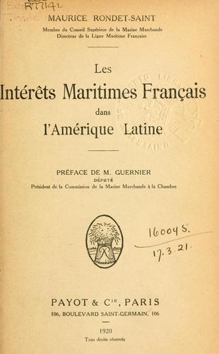 Les intérêts maritimes français dans l'Amérique latine