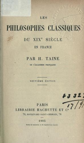 Les philosophes classiques du xixe siècle en France.