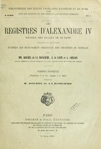Download Les registres d'Alexandre IV, vol. I
