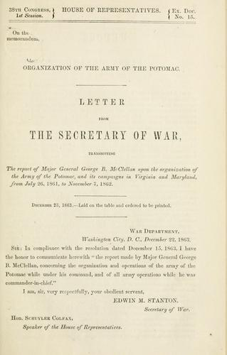 Download Letter of the Secretary of war, transmitting report on the organization of the Army of the Potomac