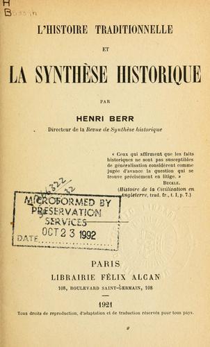 Lh istoire traditionnelle et la synthèse historique.