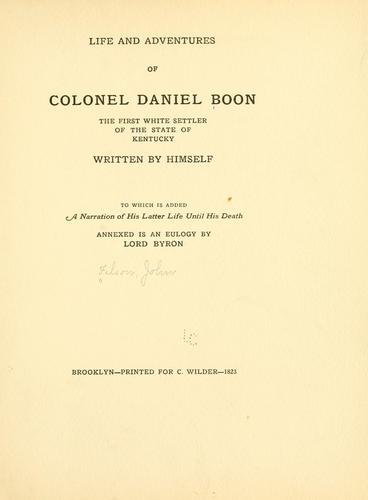 Download Life and adventures of Colonel Daniel Boon