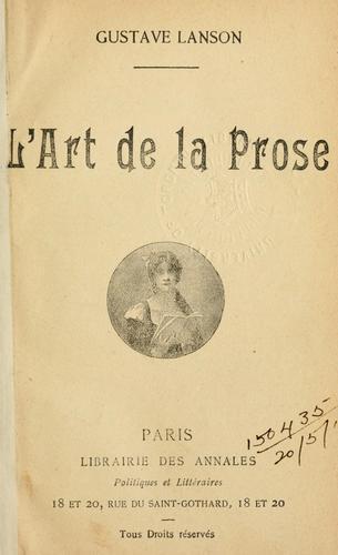 Download L' art de la prose.