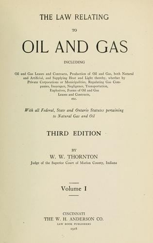 Download The law relating to oil and gas
