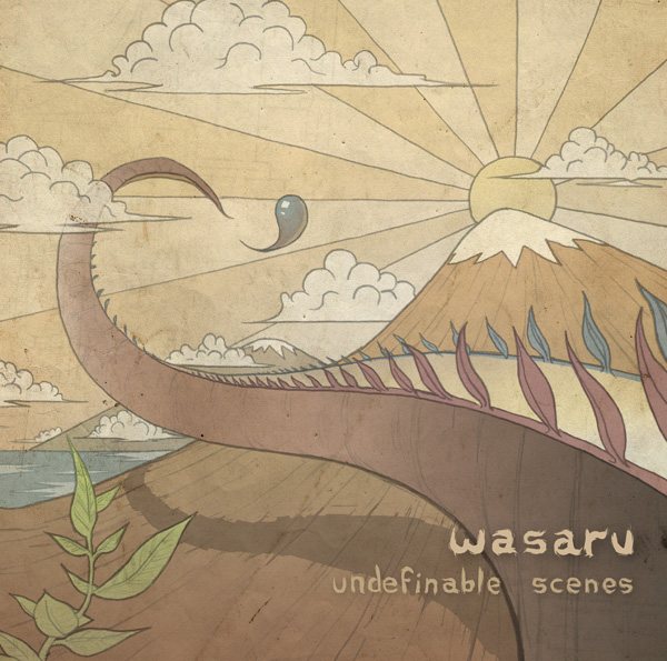 A cover of wasaru_undefinable scene is a sureal drawn of mountains with a hate of snow