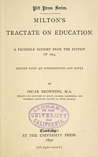 Milton's tractate on education.