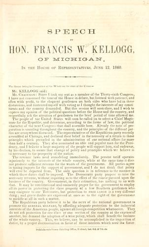 Speech of Hon. Francis W. Kellogg, of Michigan by Francis William Kellogg