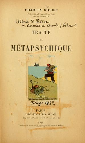 Traité de métapsychique by Charles Robert Richet