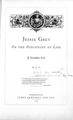 Jessie Grey, or The discipline of life by L. G.