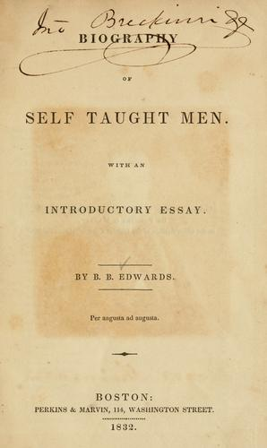 Biography of self taught men by B.B Edwards