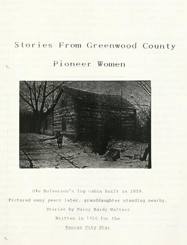 Stories from Greenwood County pioneer women by Daisy Hardy Walters