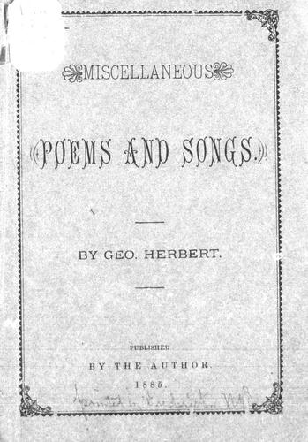 Miscellaneous poems and songs by Geo Herbert