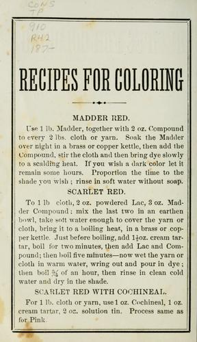 Recipes for coloring by A. McClure & Co.