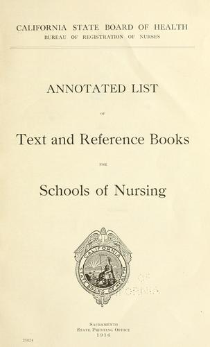 Annotated list of text and reference books for schools of nursing by California State Board of Health.