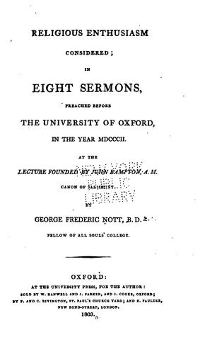 Religious enthusiasm considered by George Frederick Nott