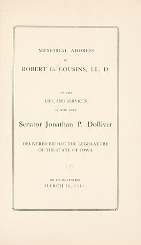 Memorial address by Cousins, Robert Gordon
