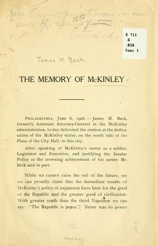 The memory of McKinley by James Montgomery Beck