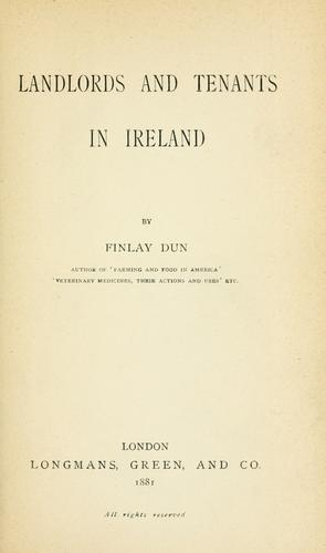 Landlords and tenants in Ireland by Dun, Finlay