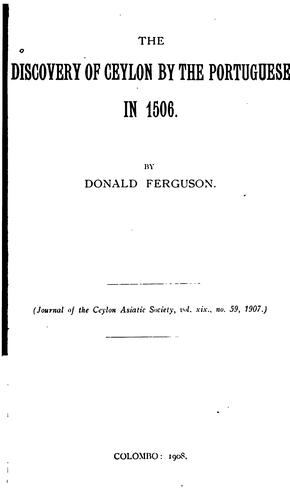 The Discovery of Ceylon by the Portuguese in 1506 by
