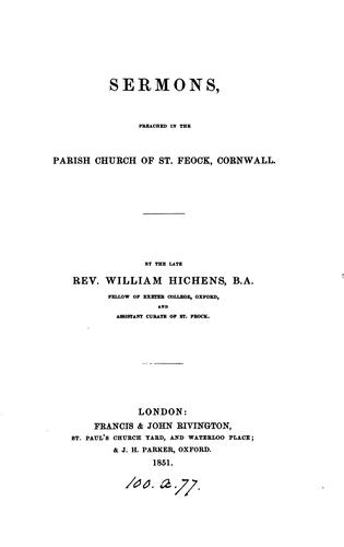 Sermons preached in the parish church of St. Feock, Cornwall by