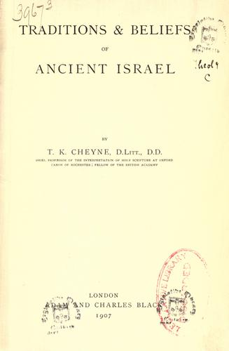 Traditions & beliefs of ancient Israel