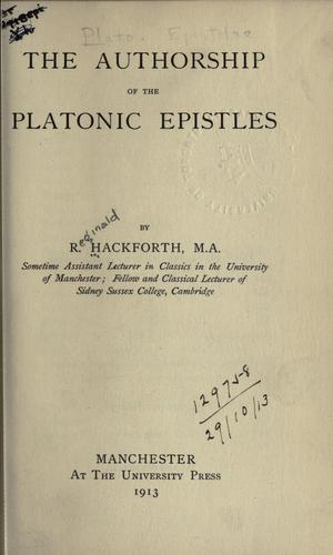 The authorship of the Platonic Epistles by R. Hackforth