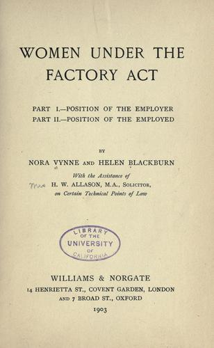 Women under the factory act by Nora Vynne