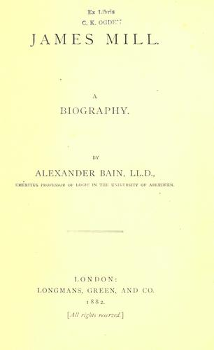 James Mill by Bain, Alexander