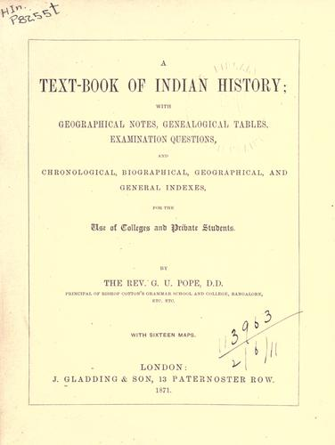 A text-book of Indian history by George Uglow Pope