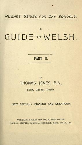 A guide to Welsh by Thomas Jones