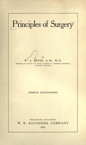 Principles of surgery by Worcester Allen Bryan