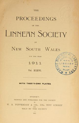 Proceedings of the Linnean Society of New South Wales by Linnean Society of New South Wales